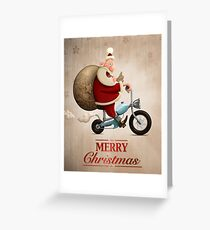 Santa Claus motorcycle delivery Greeting card Greeting Card