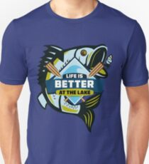 Life is better at the lake Fishing tee shirt Unisex T-Shirt