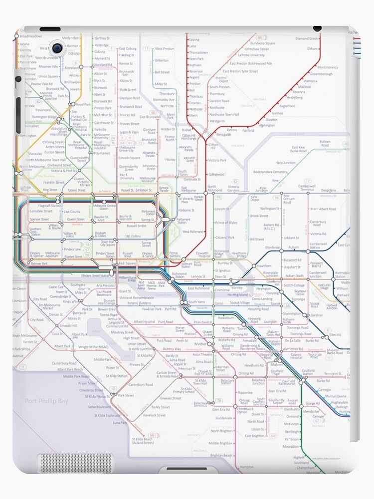 Melbourne train and tram map iPad Cases Skins by Railmaps Redbubble