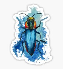 Beautiful Watercolor crawling BUG / BEETLE Blue Sticker