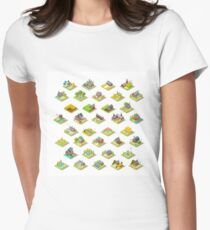 Isometric Building City Map Farm Icon Set Vector Illustration   Women's Fitted T-Shirt