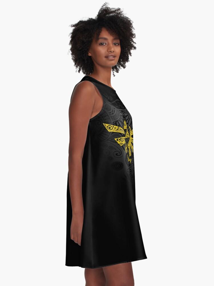 Vista alternativa de Vestido acampanado Emblema Hyrule Amarillo
