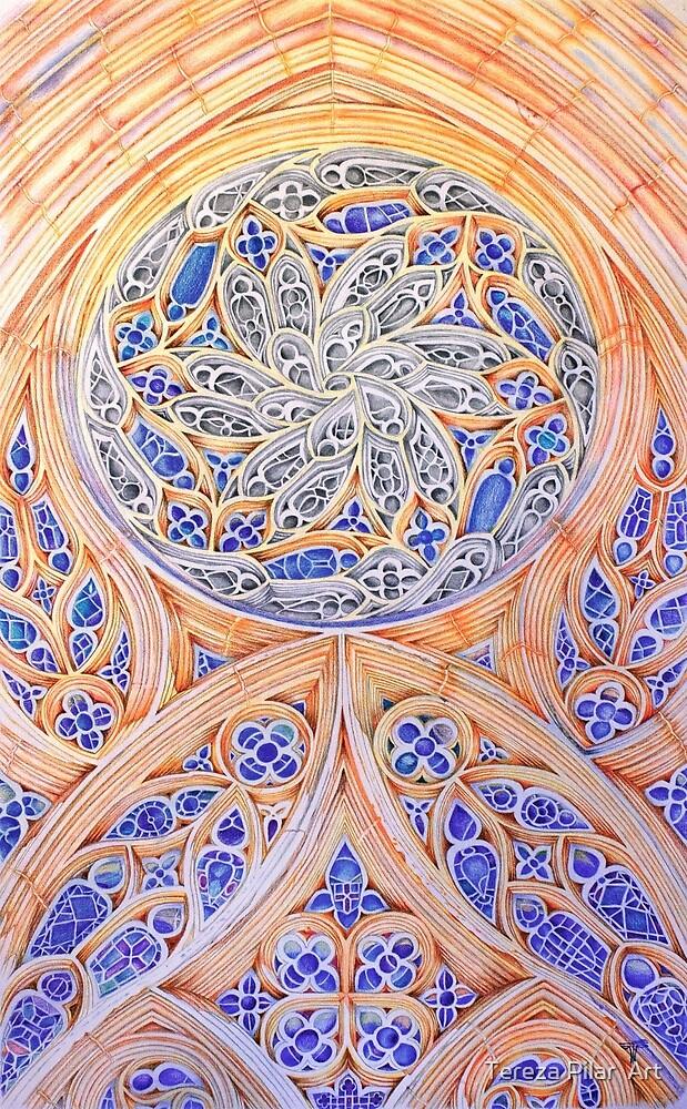 Rosácea Mosteiro Batalha. monastery rose window . color pencil by terezadelpilar ~ art & architecture