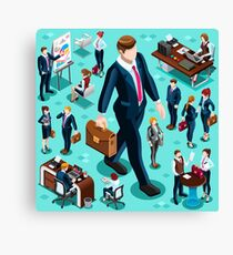 Isometric Isolated Business People Icon Set Vector Illustration   Canvas Print