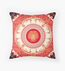 Versace Inspired Design with Medusa -  Red Throw Pillow
