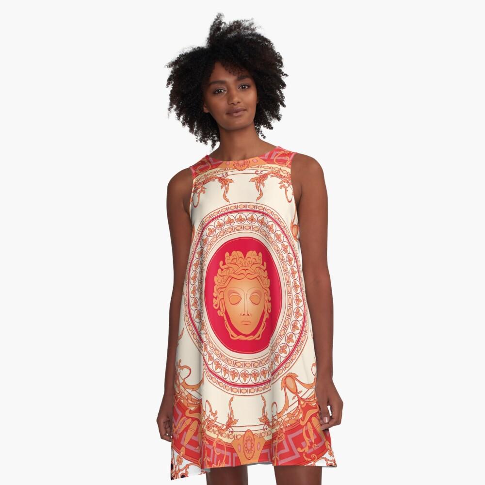 Versace inspiriert Design mit Medusa - Red A-Linien Kleid