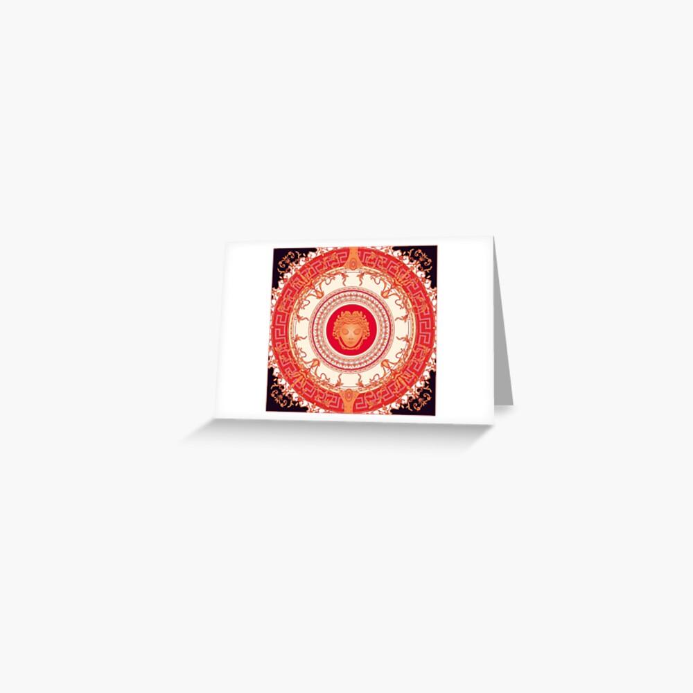 Versace inspiriert Design mit Medusa - Red Grußkarte