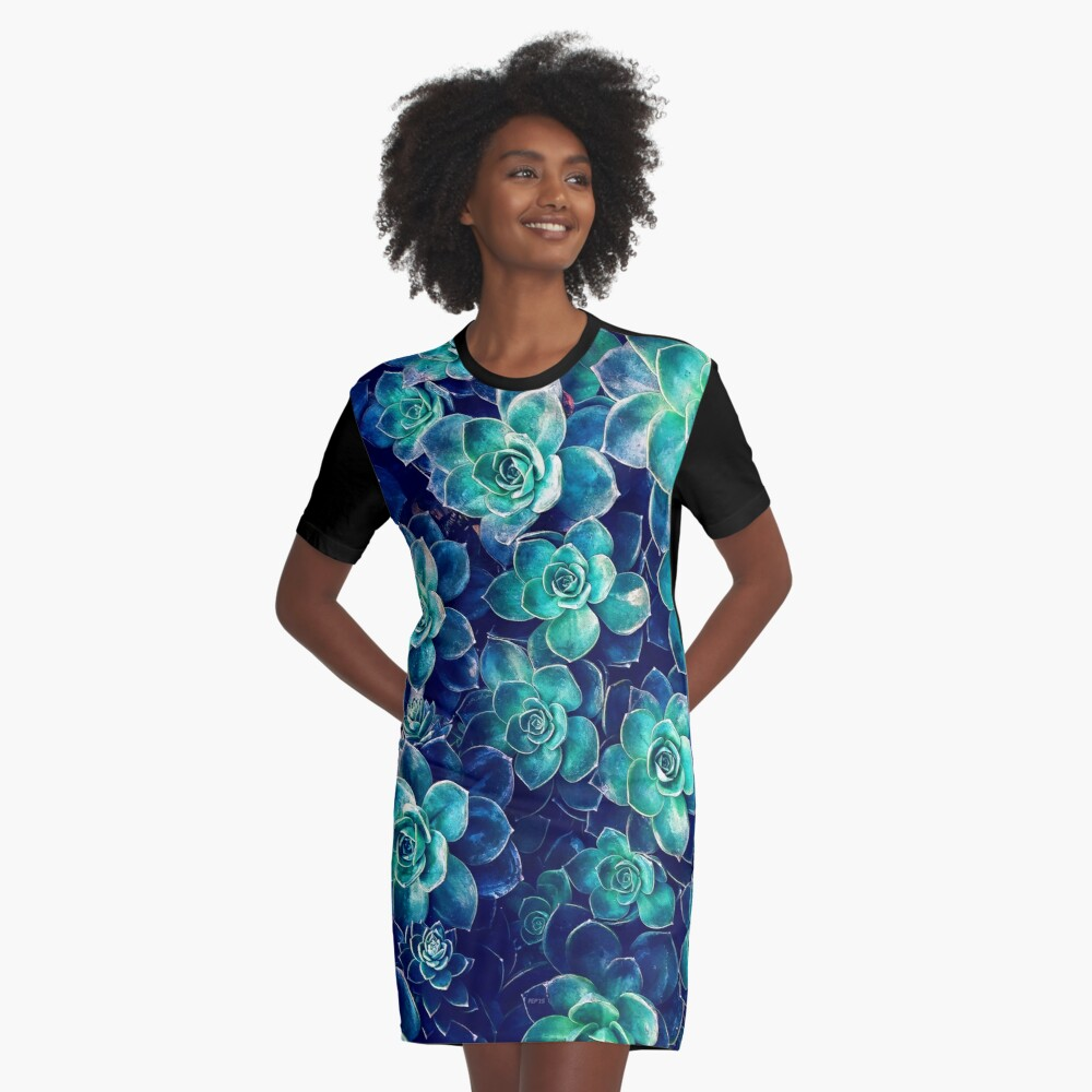 Plants of Blue And Green Graphic T-Shirt Dress Front