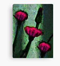 Hot Pink Dandelion Flowers with Grey Green Canvas Print