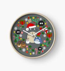 Christmas Totoro in Dark Grey - Holiday, Xmas, Presents, Peppermint, Candy Cane, Mistletoe, Snowflake, Poinsettia, Anime, Catbus, Soot Sprite, Blue, White, Manga, Hayao Miyazaki, Studio Ghibl Clock