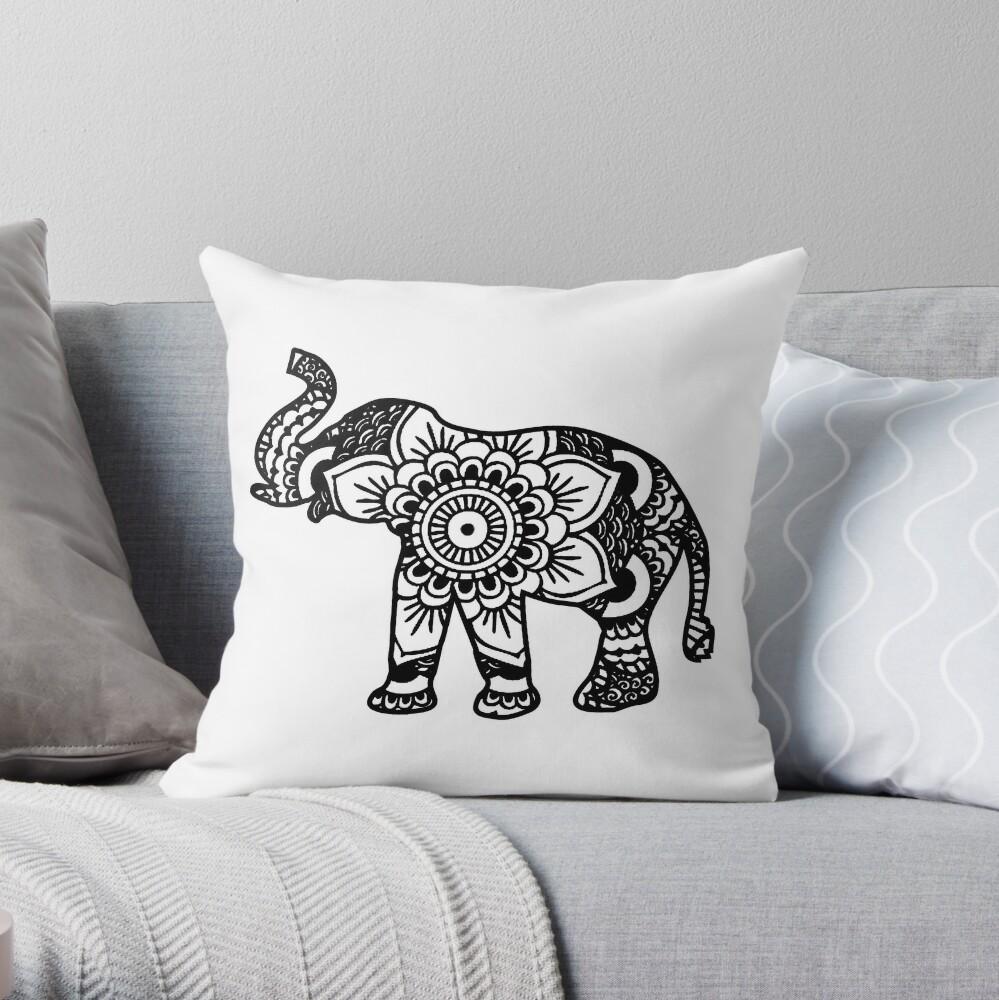 Mandala Elefant Schwarz Dekokissen