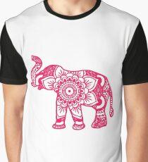 Mandala Elephant Pink Graphic T-Shirt