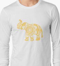 Mandala Elephant Yellow Long Sleeve T-Shirt