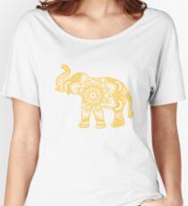 Mandala Elephant Yellow Relaxed Fit T-Shirt