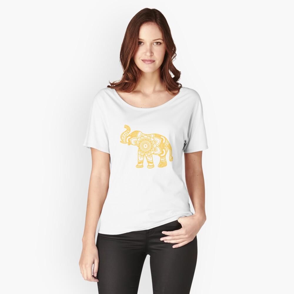 Mandala Elephant Yellow Camiseta ancha