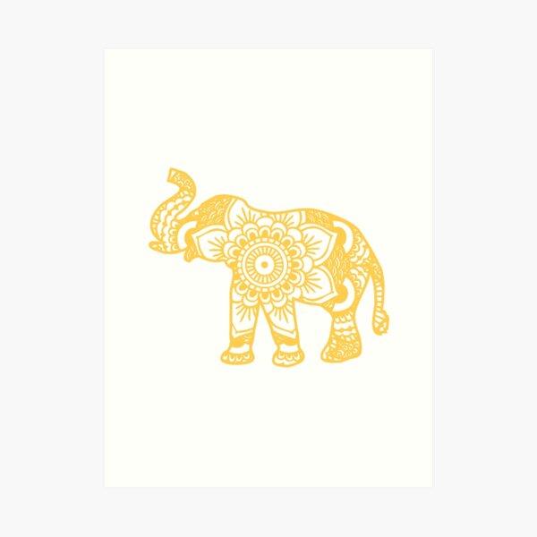 Mandala Elephant Yellow Art Print