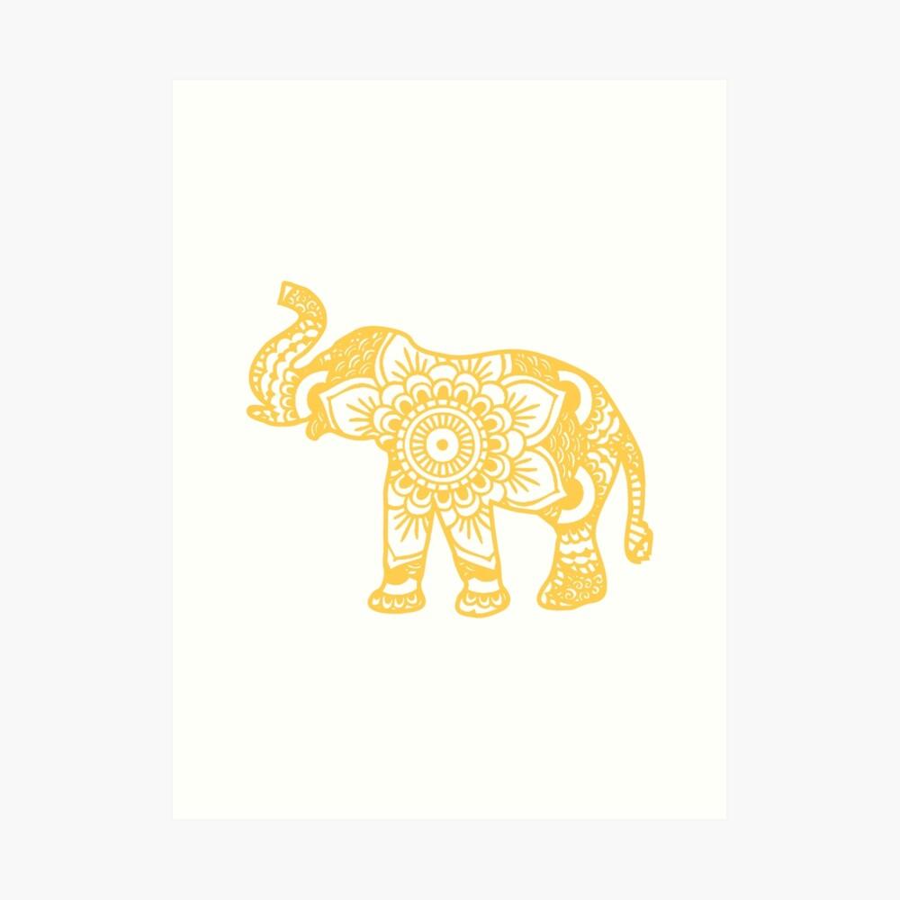 Mandala Elephant Yellow Lámina artística