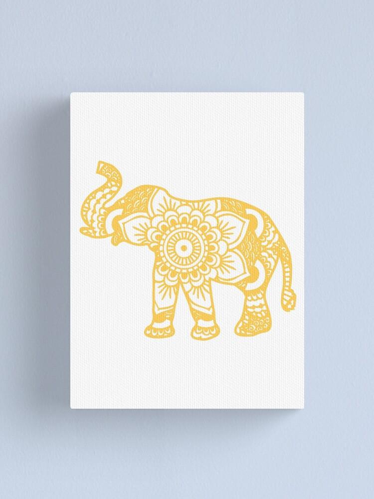 Alternate view of Mandala Elephant Yellow Canvas Print