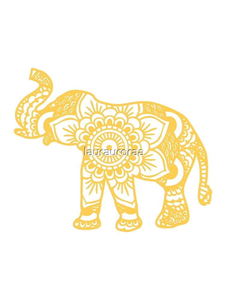 Mandala Elephant Yellow by laurauroraa