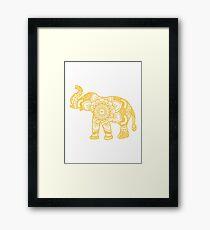 Mandala Elephant Yellow Framed Print