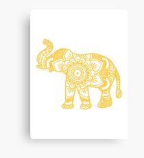 Mandala Elephant Yellow Canvas Print