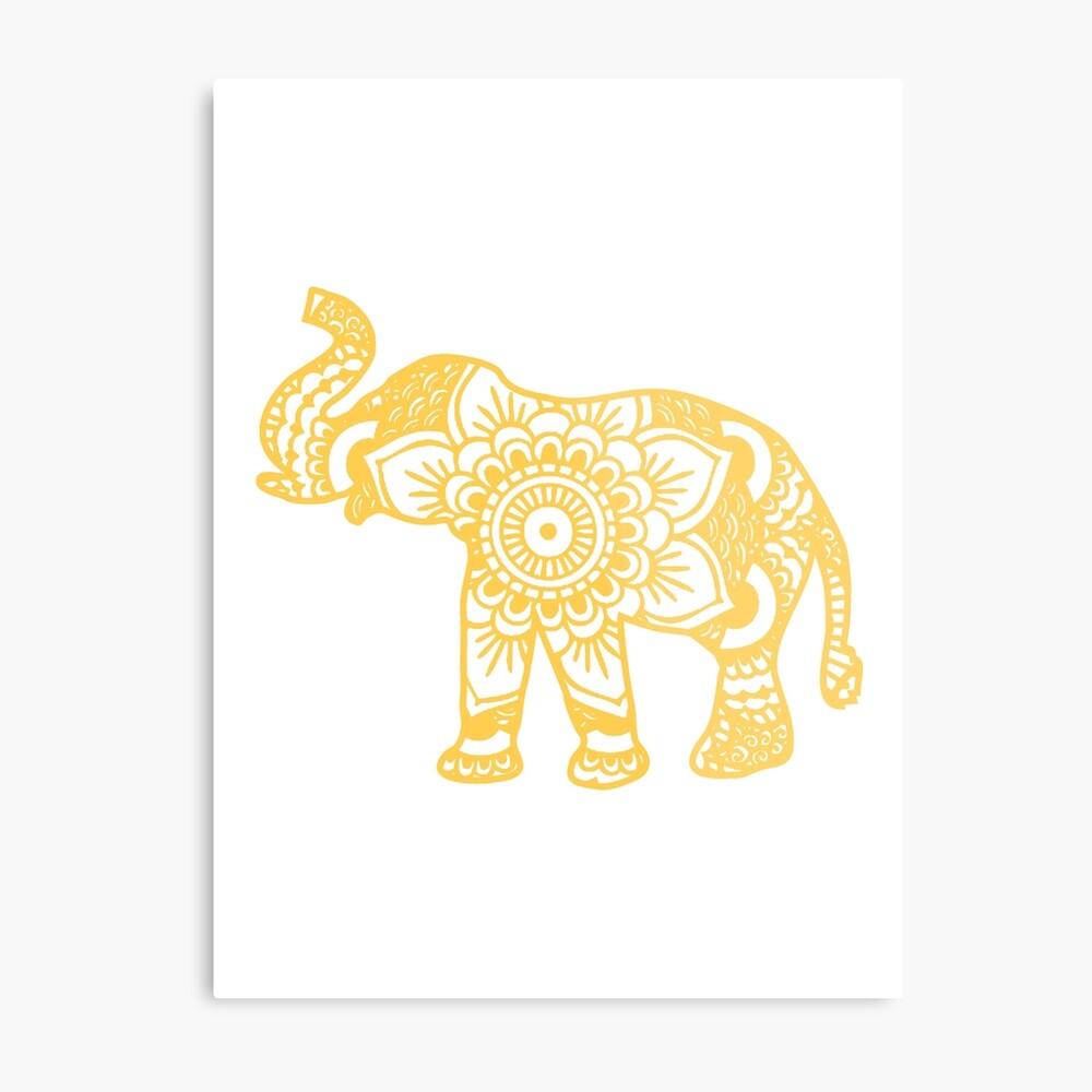 Mandala Elephant Yellow Lámina metálica