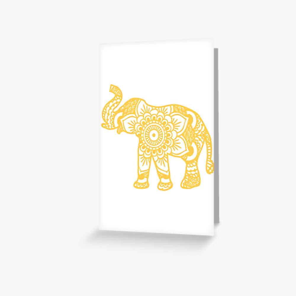 Mandala Elephant Yellow Tarjetas de felicitación