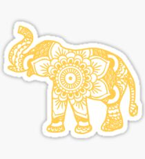 Pegatina brillante Mandala Elephant Yellow