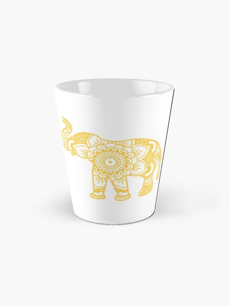 Alternative Ansicht von Mandala-Elefant-Gelb Tasse