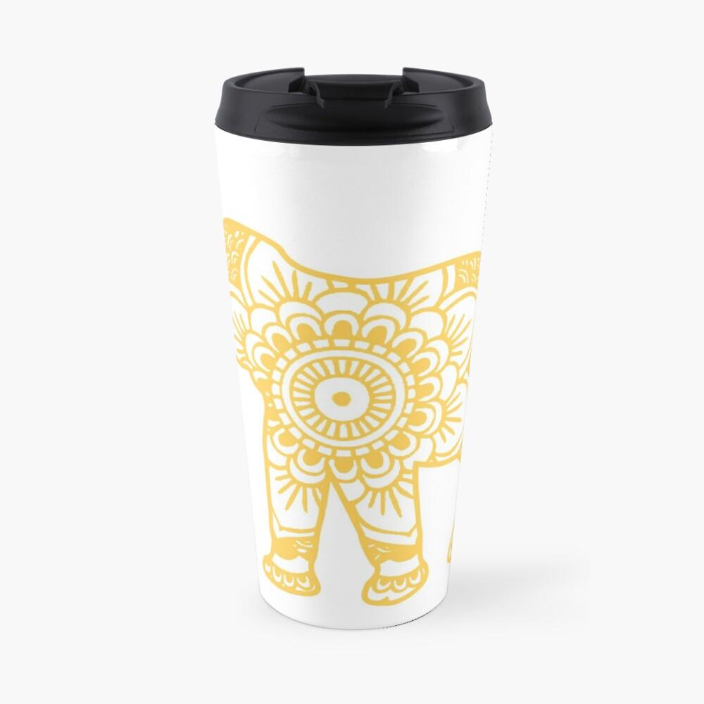 Mandala Elephant Yellow Taza de viaje