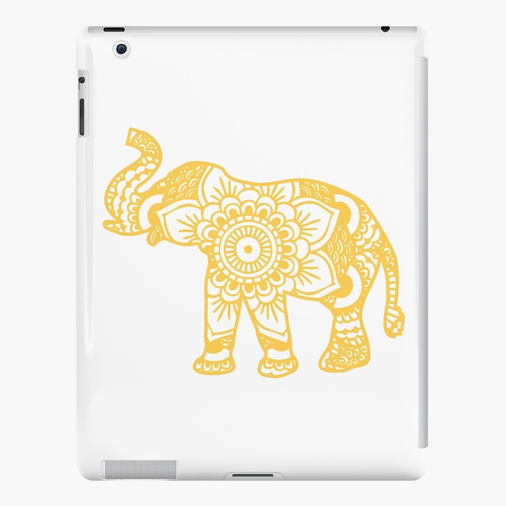 Mandala Elephant Yellow Funda y vinilo para iPad