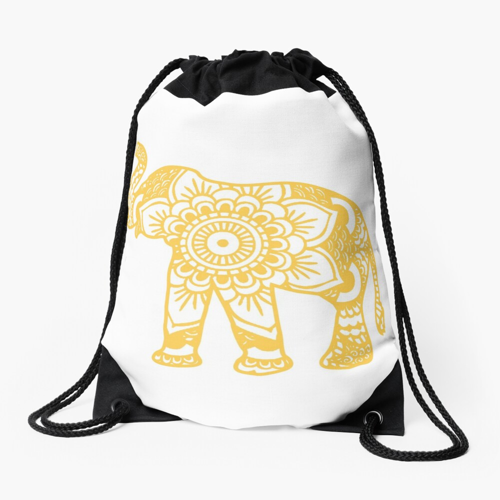 Mandala Elephant Yellow Mochila saco