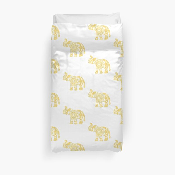 Mandala Elephant Yellow Duvet Cover