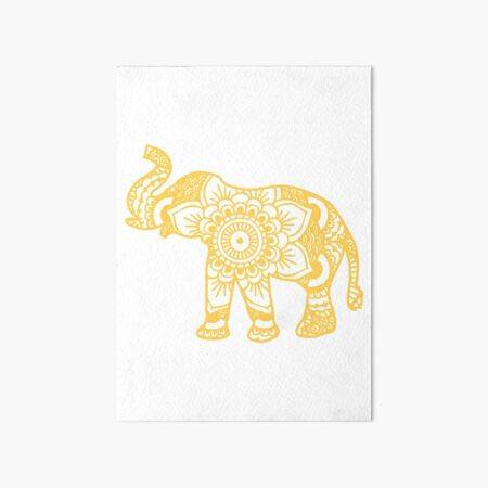 Mandala Elephant Yellow Art Board Print