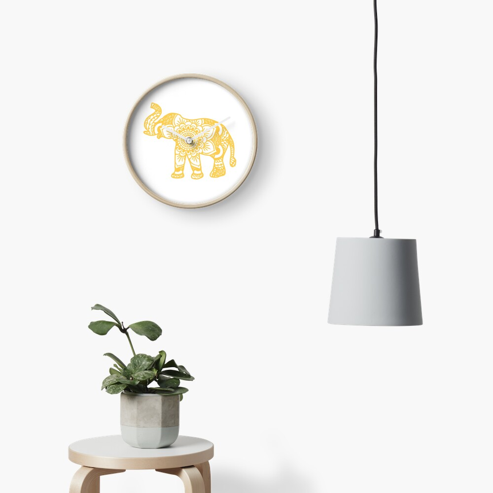 Mandala Elephant Yellow Reloj