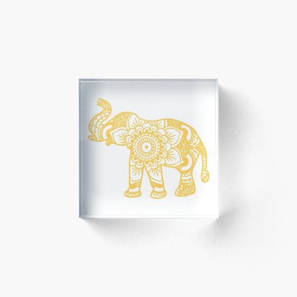 Mandala Elephant Yellow Acrylic Block