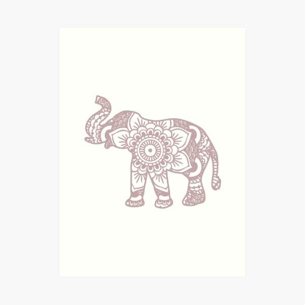 Mandala Elephant Lilac Art Print