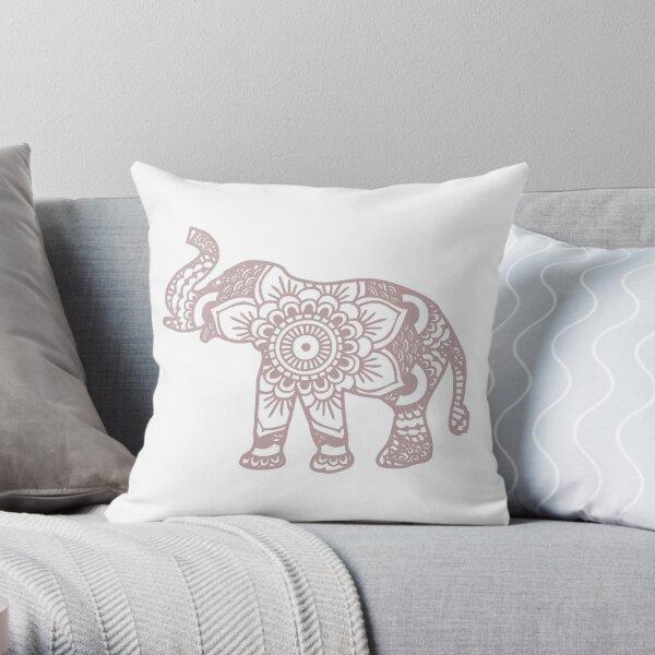 Mandala Elephant Lilac Throw Pillow