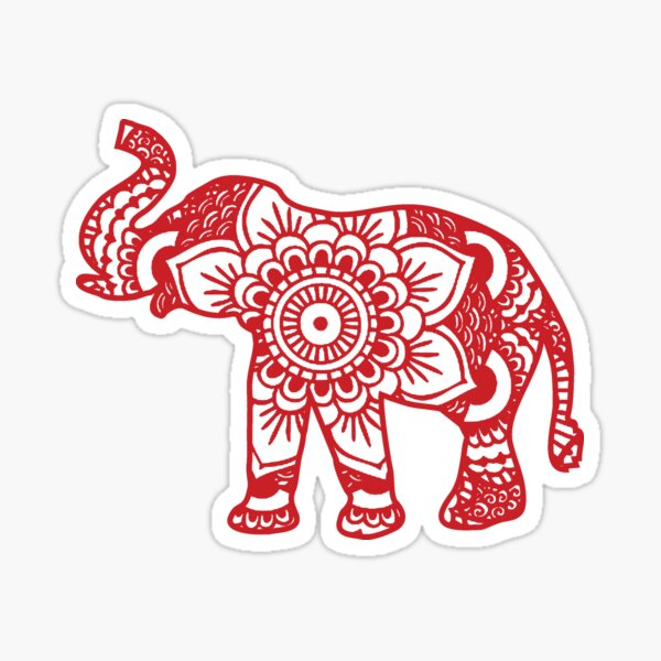 Mandala Elephant Red Sticker