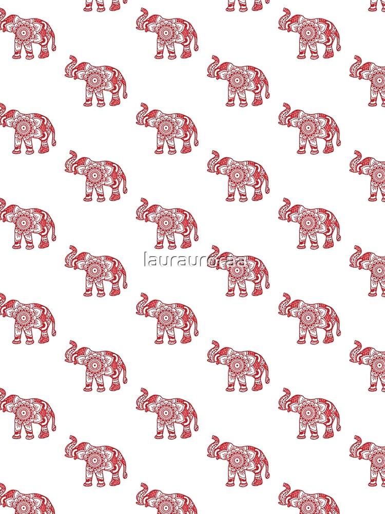 Mandala Elephant Red by laurauroraa