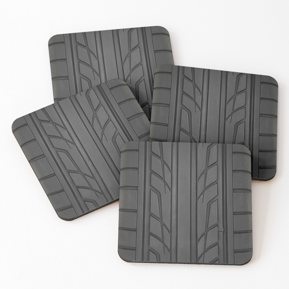 Race car tyre section Coasters (Set of 4)