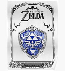 Póster Zelda legend - Link Shield Doodle