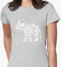 Mandala Elephant White Womens Fitted T-Shirt