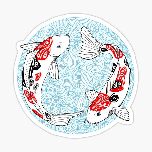 Fish carp koi blue Sticker