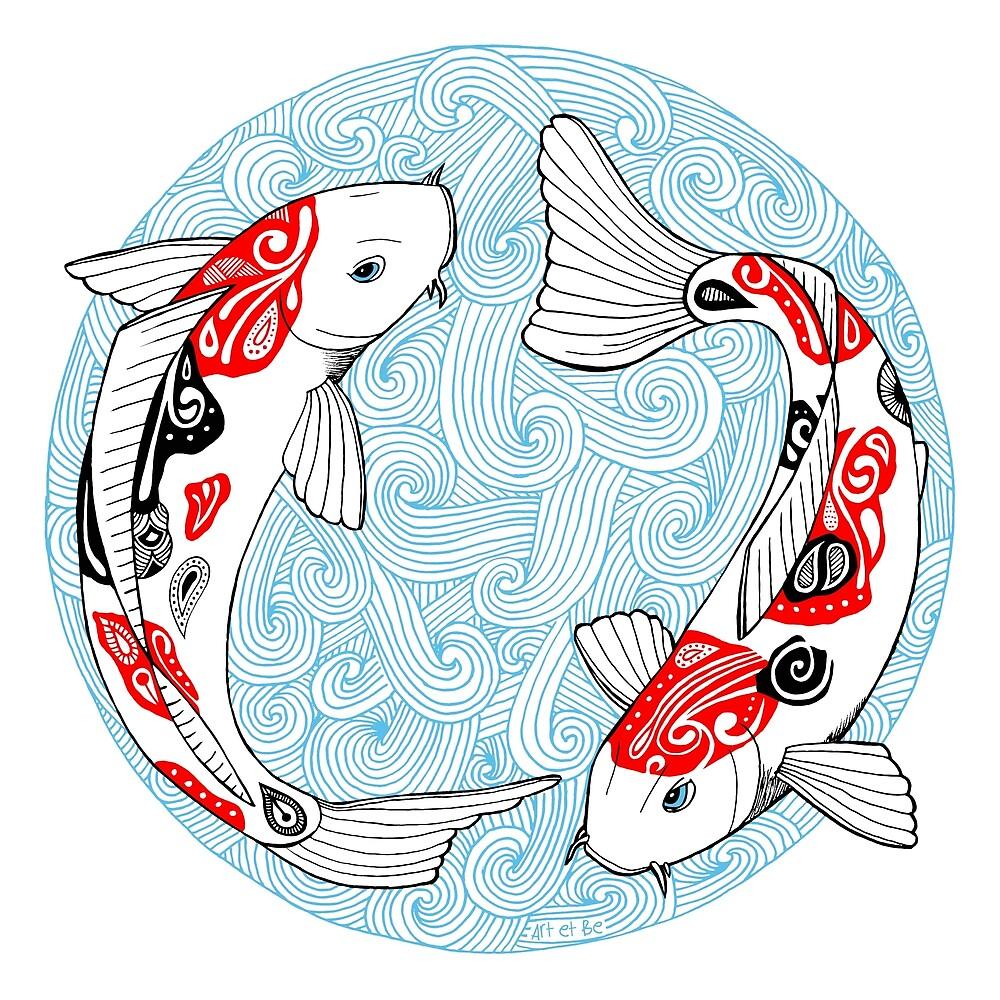 «Pescado carpa koi azul» de artetbe