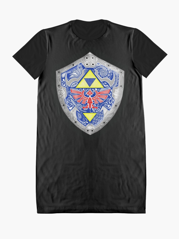 Vista alternativa de Vestido camiseta Zelda - Link Shield Doodle