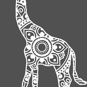 Mandala Giraffe (White) by laurauroraa