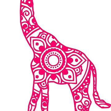 Mandala Giraffe (Pink) by laurauroraa