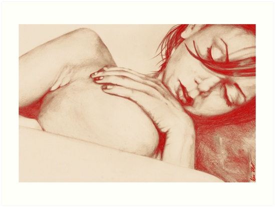 As Heaven Awaits: Red (sexy nude portrait drawing) by Marco Paludet