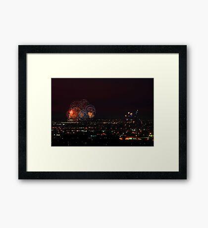 Australia Day Fireworks Over Perth Framed Print